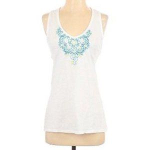 Athleta Solid Scoop Neck Embroidered Tank Top S